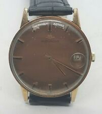 Vintage Manual Wind Gold Plated Movado Mens Black Leather Wrist Watch