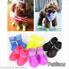 4 Hund Katze Regen Schutz Stiefel Haustier Wasserdicht Welpen Schuhe Stiefel FL