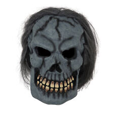 Mens Black Skull Mask with Hair Latex Halloween Adult mens Fancy Dress Costume