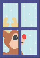 Crochet Patterns -  RUDOLPH REINDEER IN WINDOW pattern
