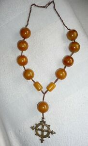Antique African Amber Copal Bead Necklace, with metal cross