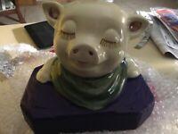 Vintage Chalkware Pig Bust Figurine