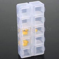 Tranparent Plastic Case Jewelry Bead Storage Orgainser Box Container 10 Cell 1PC