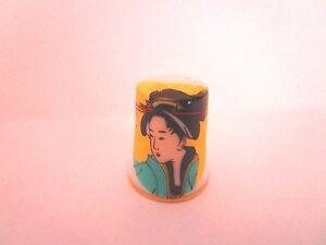 "Chinese Geisha Ceramic Thimble 1.25"" tall"