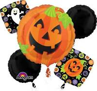 HALLOWEEN JACK O LANTERN BALLOON BOUQUET PARTY DECORATION FOIL BALLOONS PUMPKIN