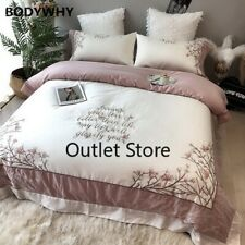 Luxury European Egyptian Cotton Bedding Set Embroidery Duvet Cover Bed Sheet 4ps