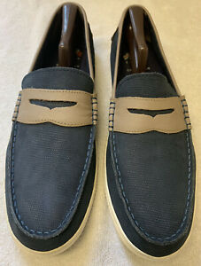 COLE HAAN PINCH WEEKENDER LEATHER SLIP-ON LOAFERS MEN'S SIZE 13 NAVY/TAN
