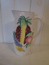 """Vintage Juice Pitcher Fruit Majolica Japan Basket Weave Teal White 8 3/4"""" Tall"""