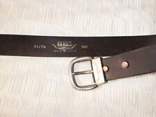 "BNWT RM Williams Mens Saltwater Crocodile 1.5/"" Belt Leather Black"
