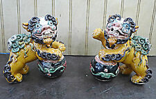 "Pair Handmade Shiwan Figurine Paying Ball Foo Dog Ceramic Statue 4""L x 4""w"