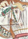 ACEO original Watercolor Art Card Horse FANTASY Carousel steed bandbox/floral