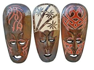 Set of (3) Hand Chiseled Wood African Style Wall Decor Masks!