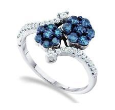 10 Quilates Oro Blanco Azul y Anillo con Diamante Conjunto Flores .75ct Banda