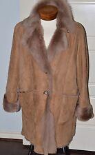 MARINA RINALDI Brown Shearling Coat Collar Sz 23 Spanish Lamb Very Nice!
