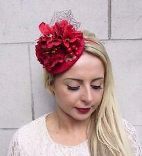 Red Floral Peony Flower Berry Fascinator Pillbox Hat Races Wedding Vintage 3774