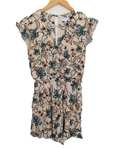WITCHERY Floral V Neck Ruffle Sleeve Jumpsuit Short Pantsuit With Pockets Size 6