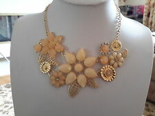 Brand new gold  necklace with cream + pale peach stones and gift box