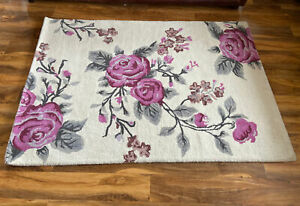 Lovely Vintage Floral Design Cream 100% Wool Rug HandTufted Ex Display ZEBA Home