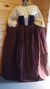 18th century colonial revolutionary war civil war pleated petticoat skirt cotton