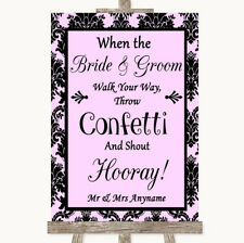 Wedding Sign Poster Print Baby Pink Damask Confetti