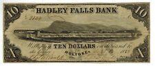 1858 Holyoke Massachusetts HADLEY FALLS BANK $10 Obsolete Currency Waterfalls