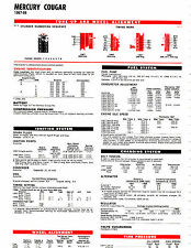 1967 1968 MERCURY COUGAR V-8 67 68 LUBE LUBRICATION LUBE TUNE-UP CHARTS T5