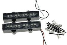 * NEW Alnico 5 for Fender Jazz Bass PICKUP SET Strat Pickups Black Covers