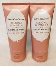 2 Bath & Body Works ALMOND & VANILLA Natural Almond Oil Clay Body Scrub Tube 6oz