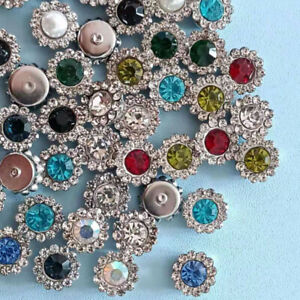 50pc Mixed Silver Alloy Rhinestones Flowers Buttons for Crafts Sewing Decor 10mm