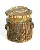 Vintage Carved Tree Bark Pipe Tobacco Humidor W/ Handles Lid & Ashtray Handmade