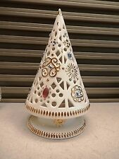 VILLEROY & BOCH PORCELAIN JEWELED CHRISTMAS TREE TEA LITE CANDLE HOLDER 7.5""