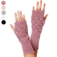 Fashion Unisex Women Ladies Fingerless Gloves Winter Warm Soft Knitted Mittens