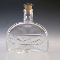 "SIGNED Boda Swedish Glass ""Cats"" Bottle by Erik Hoglund"