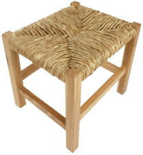 Small Wooden Stool Rustic Raffia Woven Top Solid Wood Base 30cm