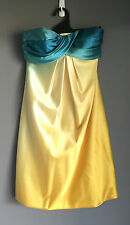 NWT PURPLE PATCH Yellow & Aqua Strapless Dress Cocktail/Party/Formal Size 6