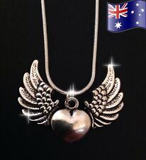 Angel Wings Love Heart Pendant 925 Sterling Silver Chain Necklace + Gift Pouch