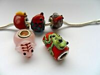 NEW 5pcs SILVER MURANO GLASS BEAD Animal fit European Charm Bracelet