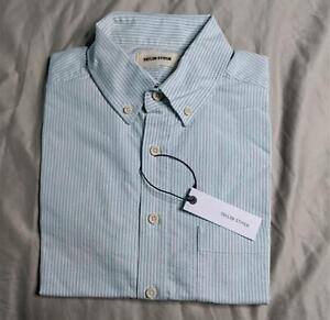 Taylor Stitch Men's Short Sleeve University Stripe Polo SC4 Jack in Teal Small