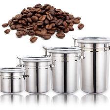 Set 4 Recipiente Contenedor Bote Tarro Hermético Acero Inoxidable para Café Té