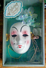 Vintage Porcelain Ceramic Mardi Gras Face mask wall Hanging Home Decor -  NIB