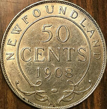 1908 NEWFOUNDLAND SILVER 50 CENTS FIFTY CENTS - Fantastic example!