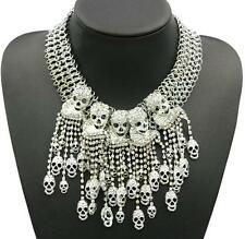 Crystal Betsey Johnson Fashion Exaggeration Skull Pendant Jewelry Chain Necklace