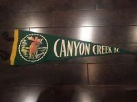 Vintage Canyon Creek British Columbia Pennant Felt Banner BC Canada Souvenir