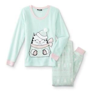 Joe Boxer Juniors' 2-Pc Fleece Green Pajama/Sleepwear Top & Pants Set Cat