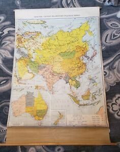Vintage 1949 Denoyer-Geppert Pull Down Map E3 Asia Russia China School Political