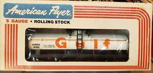 American Flyer 4-9100 GULF Oil Single Dome Tank Car Gas S gauge 1979 WRNX9100
