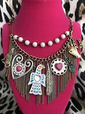 Betsey Johnson Indian Summer Dream Catcher Horse Eagle Howling Coyote Necklace
