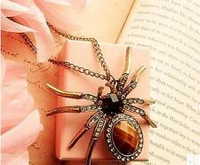 HO AU NEW Retro Bronze Crystal Rhinestone Spider Bead Charm Pendant for Necklace