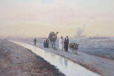 c.1890 antique Orientalist landscape painting North African canal scene