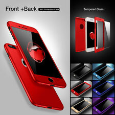 Hybrid 360 Full Acrylic Hard Case Cover For iPhone 6 6s 7 8 Plus +Tempered Glass